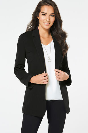 Oversized Jersey Ribbed Blazer