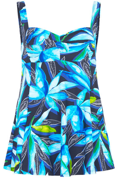 Watercolour Leaf Print Twist Front Swimdress