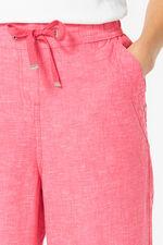 Tie Front Textured Linen Blend Trouser