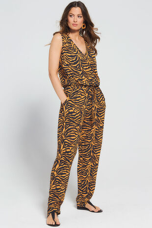Isla & Rose Ochre Zebra Print Sleeveless Jumpsuit