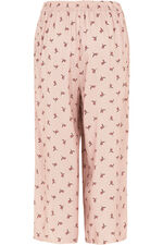 Bird Print Wide Leg Cropped Trousers