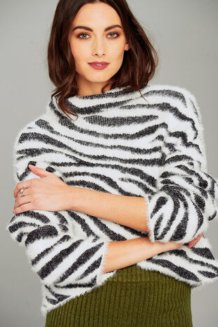 Join Us Zebra Pattern High Neck Jumper