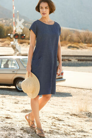 Crochet Back Linen Dress