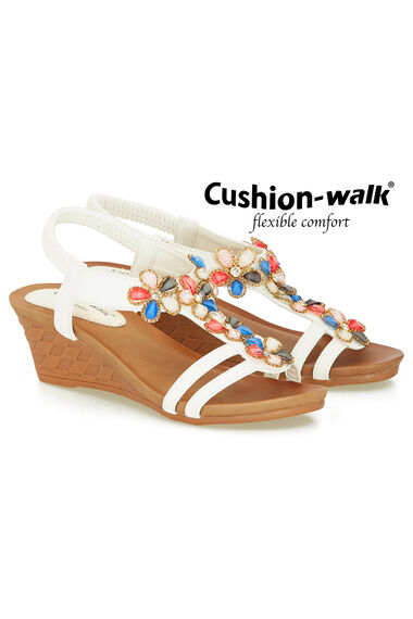 Cushion Walk Elasticated Sling Back 3D Floral Wedge Sandal