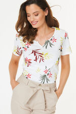 Notch Neck Tropical Print T-Shirt