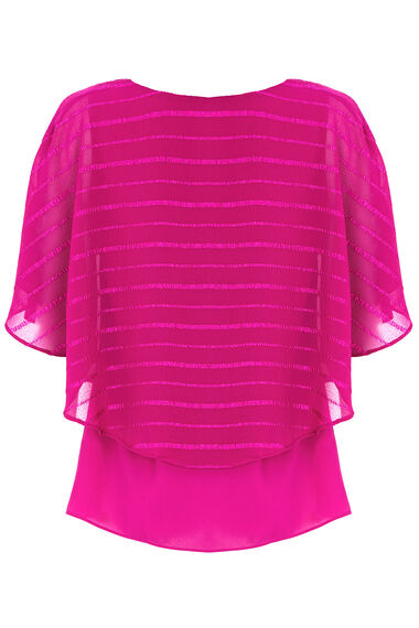 Textured Stripe Cape Blouse With Necklace