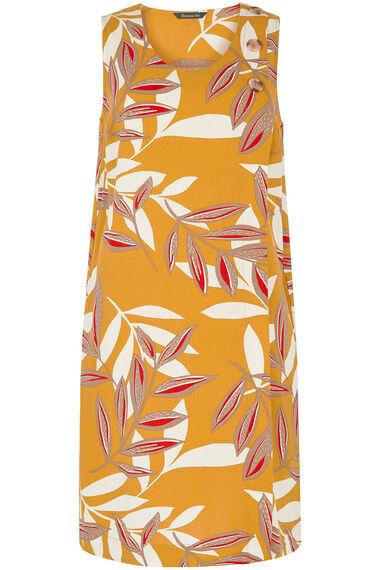 Sleeveless Linen Blend Leaf Print Wrap Dress