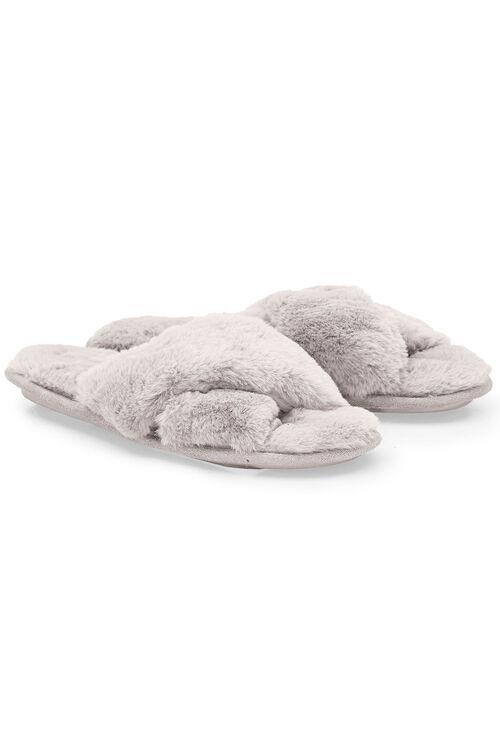 Faux Fur Open Toe Mule Slipper