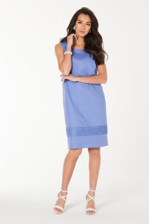 Lace Detail Linen Blend Dress