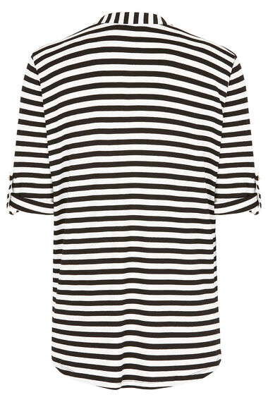 Stripe Overhead Jersey Top With Zip Fastening