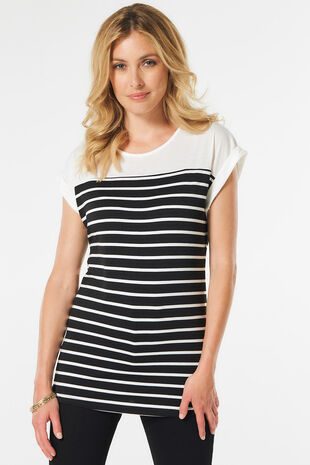 Stella Morgan Border Stripe Print T-Shirt