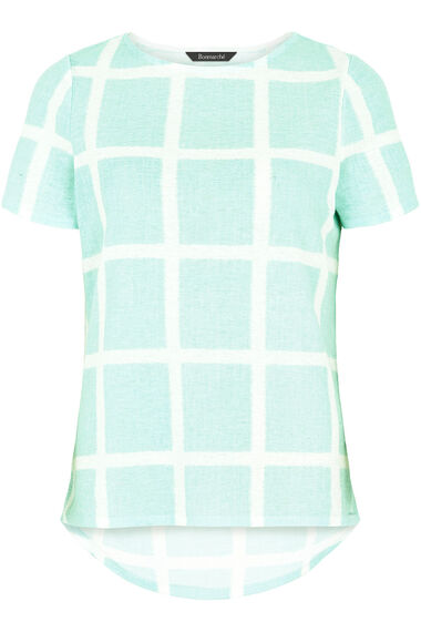 Large Check Print Texture Top