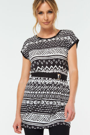 Mono Print Tunic With Belt