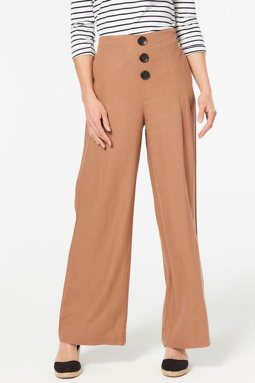 3 Button Wide Leg Trouser
