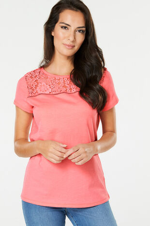 Lace Yoke Detail T-Shirt