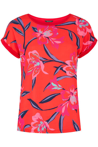 Floral Print Woven Front Top