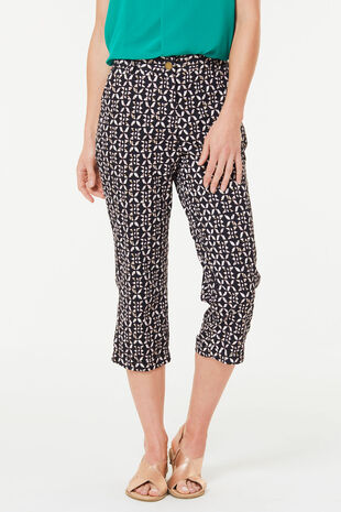 Geo Print Brushed Cotton Crop Trouser