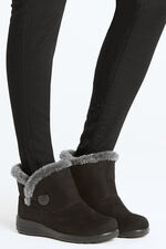 Cushion Walk Suedette Boot with Faux Fur Trim