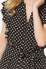 Spot Print Frill Sleeve Dress