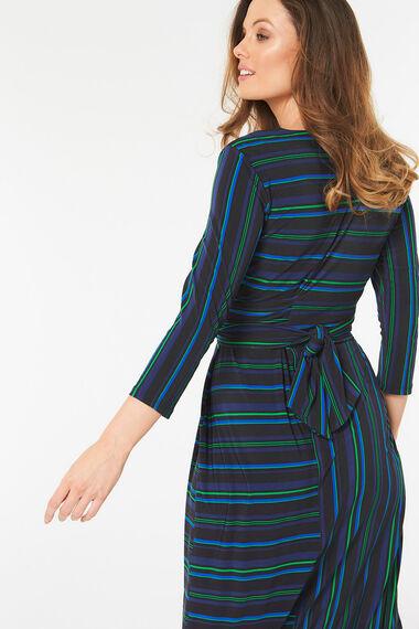 Thin Stripe Wrap Dress
