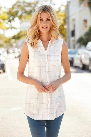 Grid Check Print Linen Blend Sleeveless Shirt