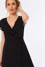 Short Sleeve Plain Frill Wrap Dress