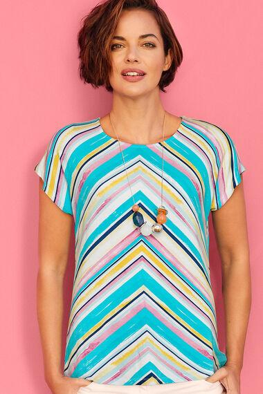 Chevron Watercolour Stripe Print T-Shirt