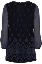 Embroidered Velour Tunic