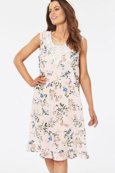 Sleeveless Nightdress With Ruffle Lace Trim