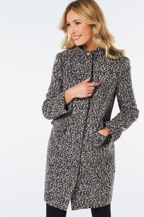 Salt and Pepper Funnel Neck Coat