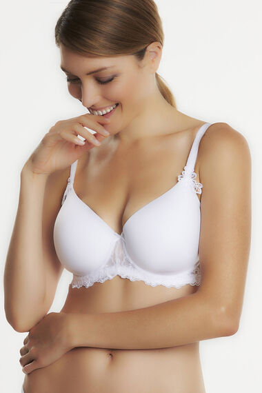 Embroidered Cup Cotton Control Bra