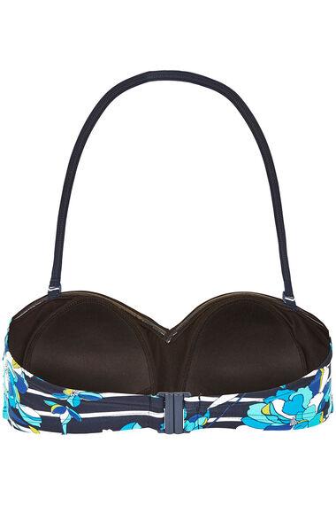 Floral Stripe Twist Front Bikini Top