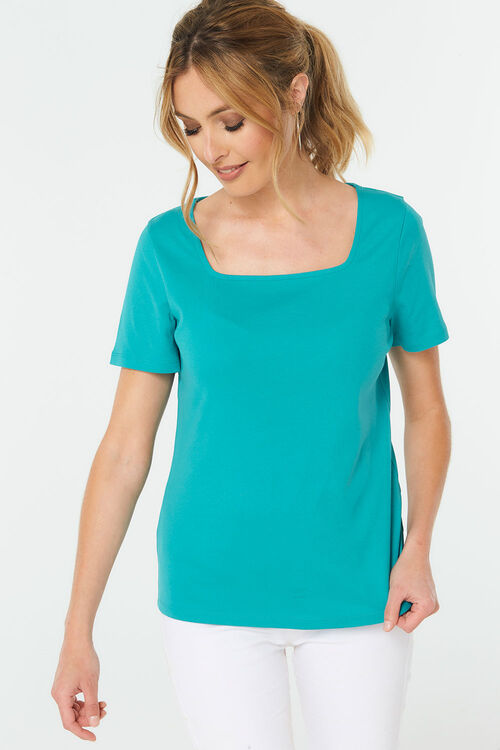Square Neck Plain T-Shirt
