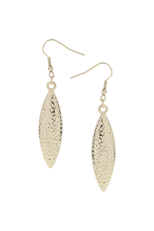 Muse Hammered Leaf Drop Earring