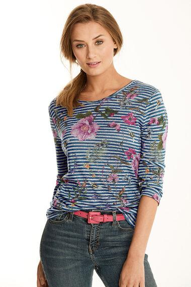 Stripe & Floral Printed Snit Sweat