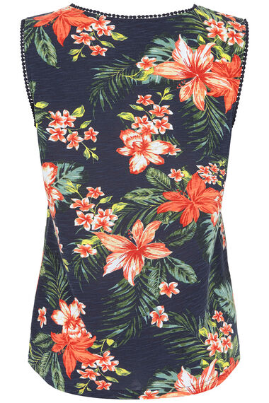 Tropical Pom Neckline Vest