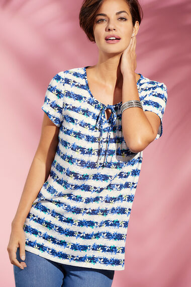 Floral Stripe Linen Look T-Shirt