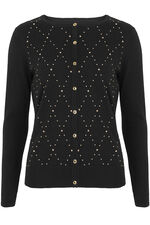 Diamond Stitch Embellished Cardigan