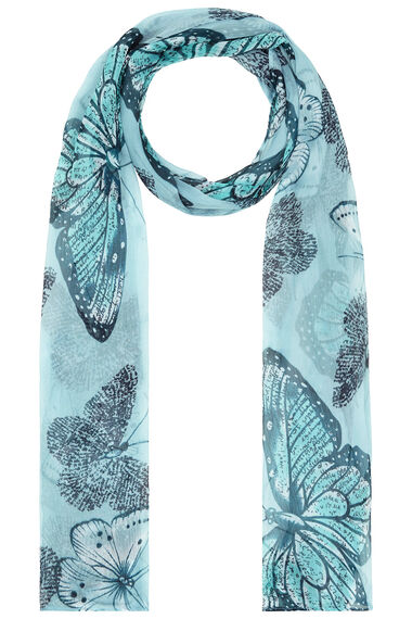 Large Scale Butterfly Print Chiffon Scarf