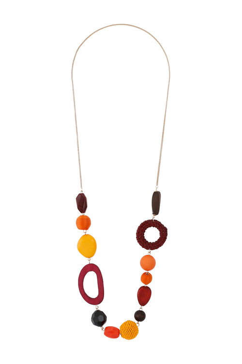 Muse Mixed Bead and Wood Rope Necklace