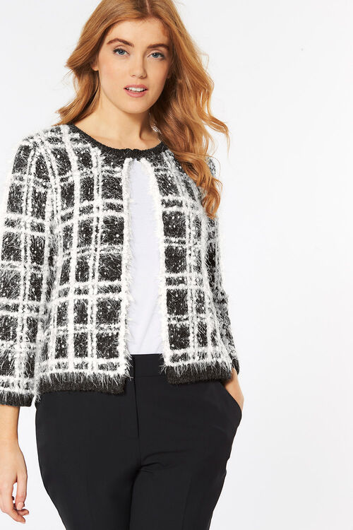 Check Textured Cardigan