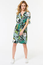 Leaf Print Bow Sleeve Dress
