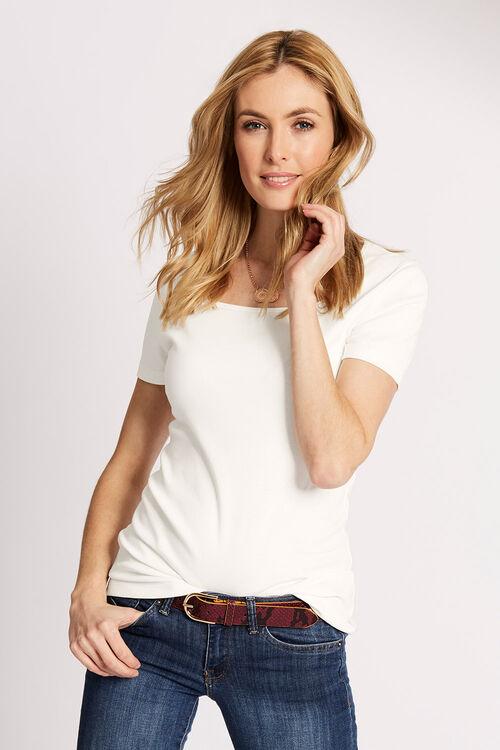 Pure Cotton Square Neck T-Shirt