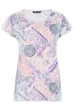 Patchwork Lace Shoulder T-Shirt