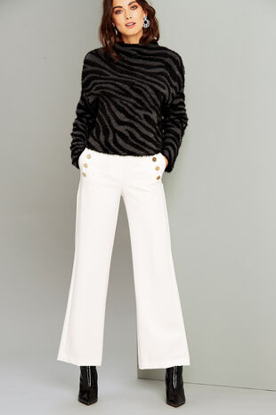 Salvari Wide Leg Button Detail Trouser