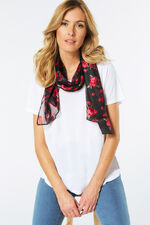 Floral Printed Satin Scarf with Stripe Detail