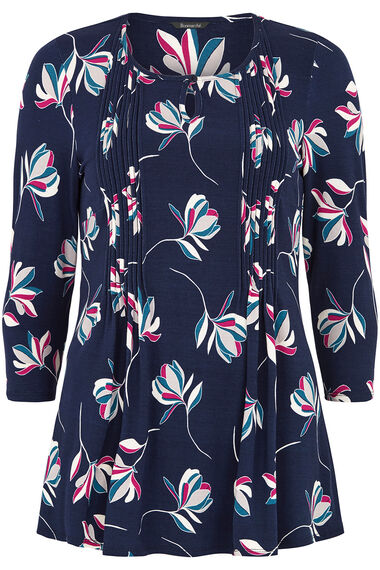 Spaced Floral Pintuck Detail Jersey Top
