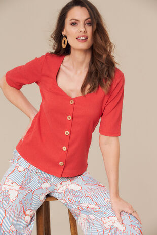 Grace By Eda Button Front Top