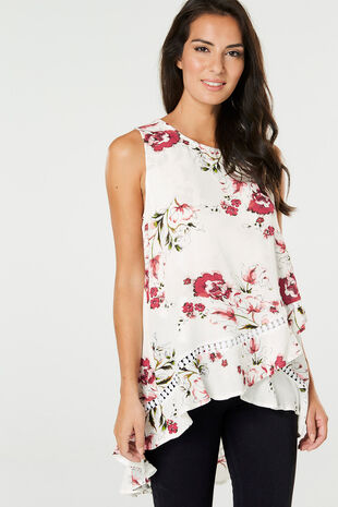 Izabel Sleeveless Dipped Hem Floral Cross Over Top