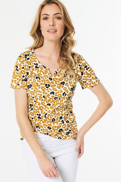 Leopard Print Notch Neck T-Shirt